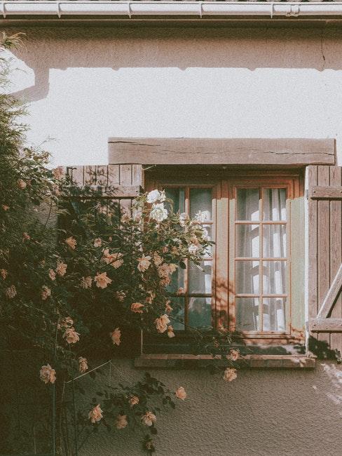 façade de style rustique avec fleurs