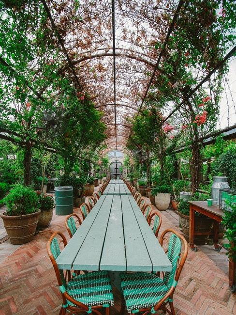 grande serre avec mobilier vintage et plantes grimpantes style jardin anglais
