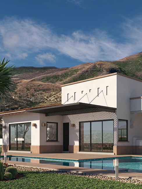 maison dans les montagne avec piscine