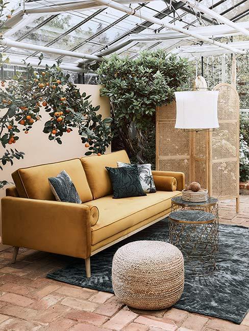 canapé en velours jaune moutarde, pouf en osier et plantes dans jardin d'hiver