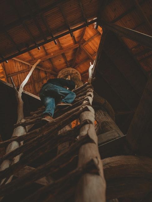 enfant grimpant une échelle de cabane en bois