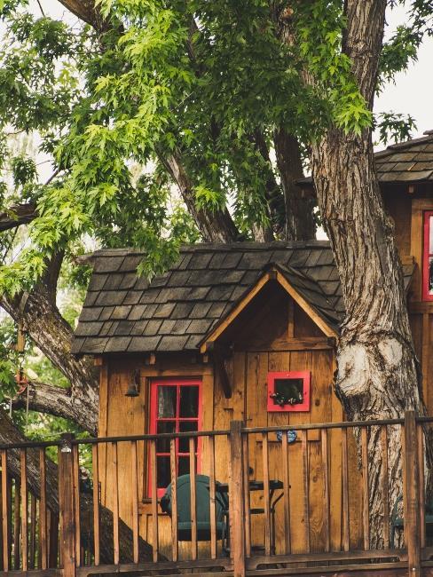 cabane dans les arbres avec fenêtres et portes rouges