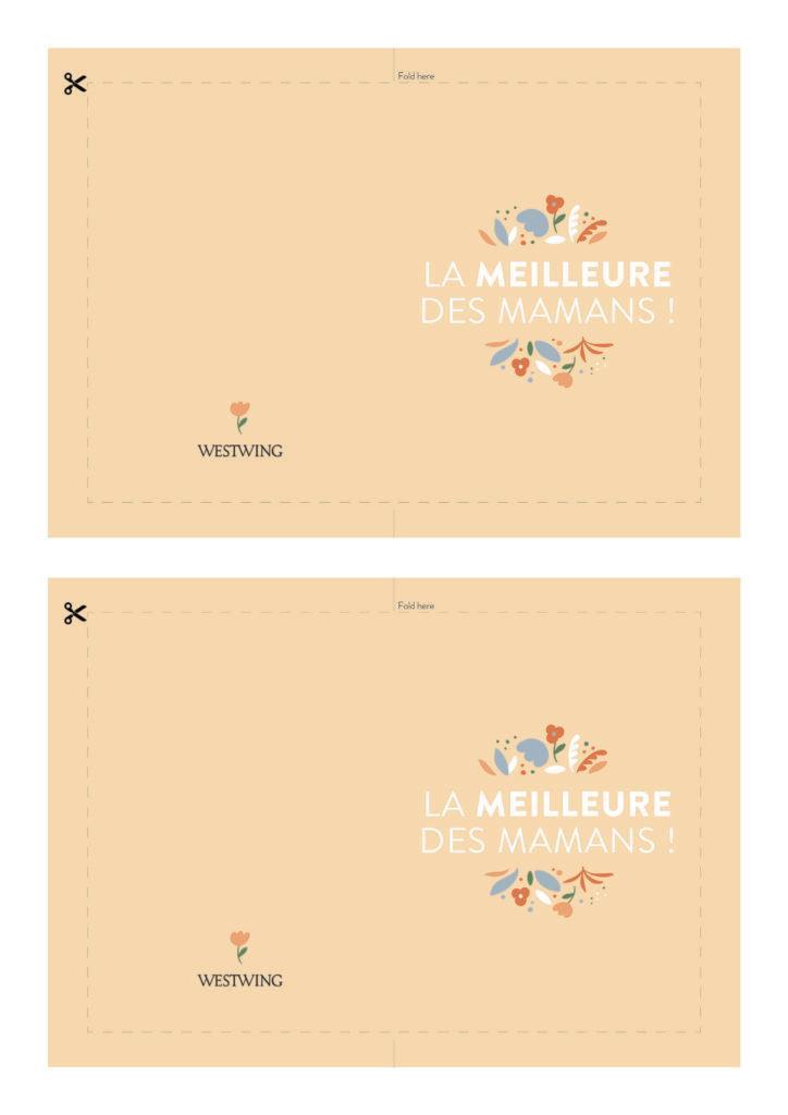 Modèle de carte DIY Westwing pour la fête des mères avec fond orange, fleurs, et message la meilleure des mamans