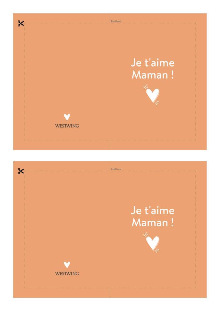 Modèle de carte DIY Westwing pour la fête des mères , avec fond orange, coeur, et message je t'aime maman