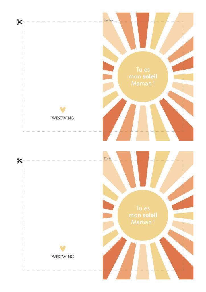 Modèle de carte DIY Westwing pour la fête des mères , fond blanc, orange, jaune, motif soleil avec message Tu es mon soleil maman
