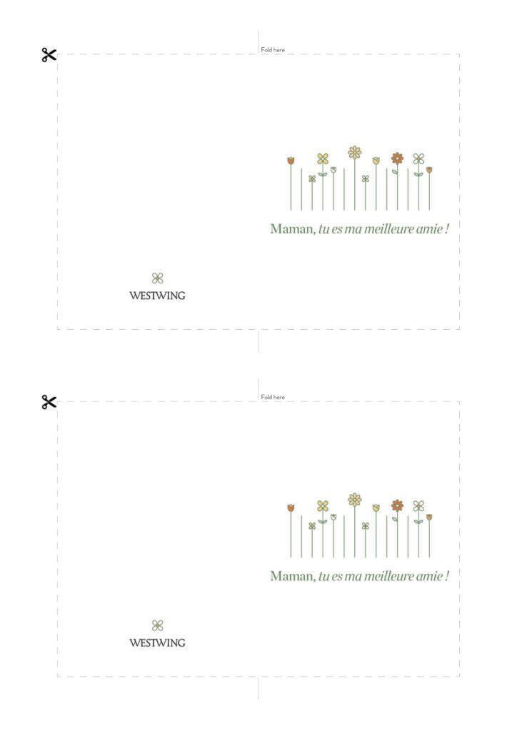 Modèle de carte DIY Westwing pour la fête des mères , fond blanc, motif fleurs, message maman tu est ma meilleure amie