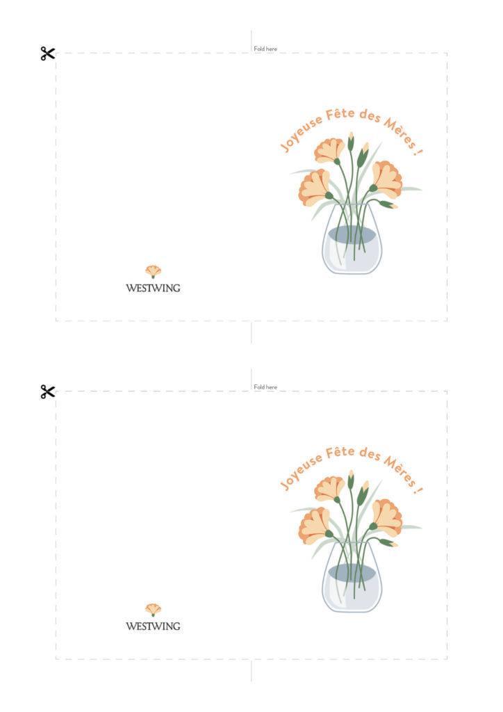 Modèle de carte DIY Westwing pour la fête des mères , fond blanc, motif vase et fleurs, mesage Joyeuse fête des mères