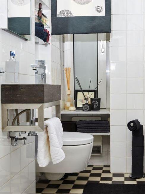 salle de bains noir et blanc, monochrome
