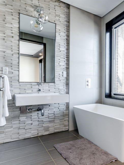 salle de bains, déco murale, baignoire, moderne, minimaliste