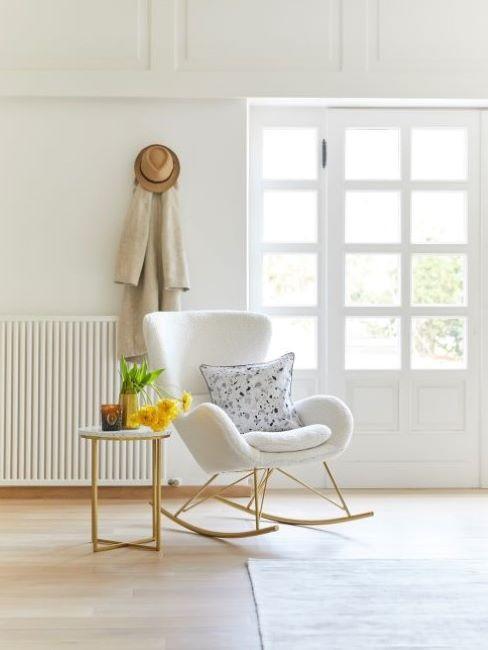 fauteuil à bascule blanc, intérieur scandinave, minimaliste