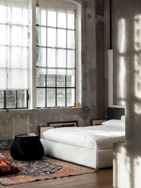 chambre à coucher minimaliste, style japonais, pouf