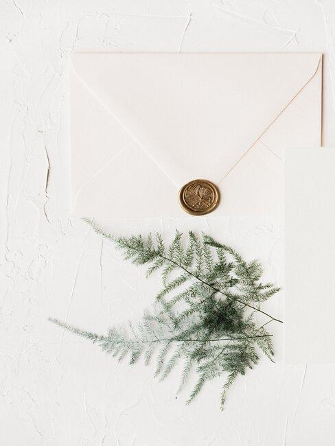 Enveloppe beige avec cachet à la cire et brin végétal