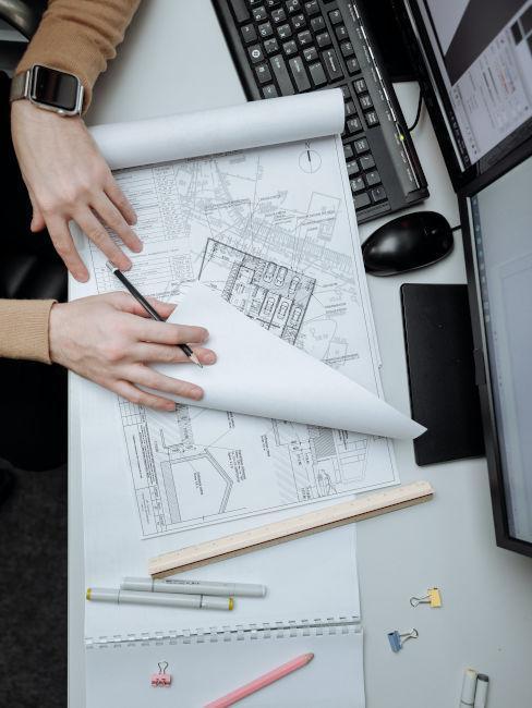 Plans de maison pour chantier avec accsessoires architecte