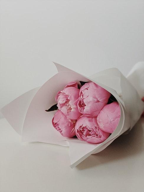 bouquet de pivoines roses, fleurs