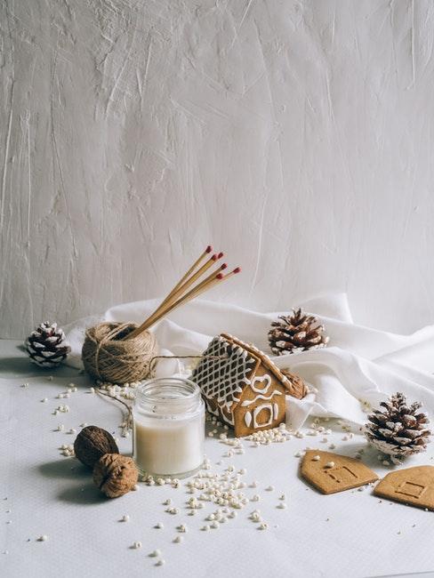 décoration hivernale, hiver, noel, pain d'épices, bougie