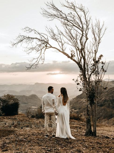 couple de mariés debout sous un arbre sans feuilles, regardant les montagnes pales au loin, mariage automne hiver