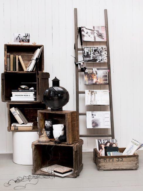 bibliotheque DIY, meuble en caissons, échelle décorative