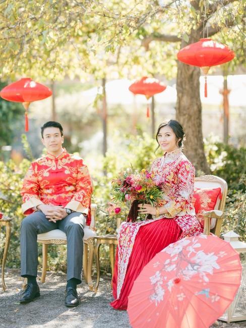 mariage asiatique, décoration, lampions rouges