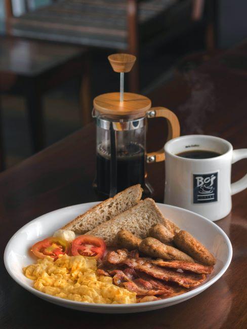 café, cafetière, repas