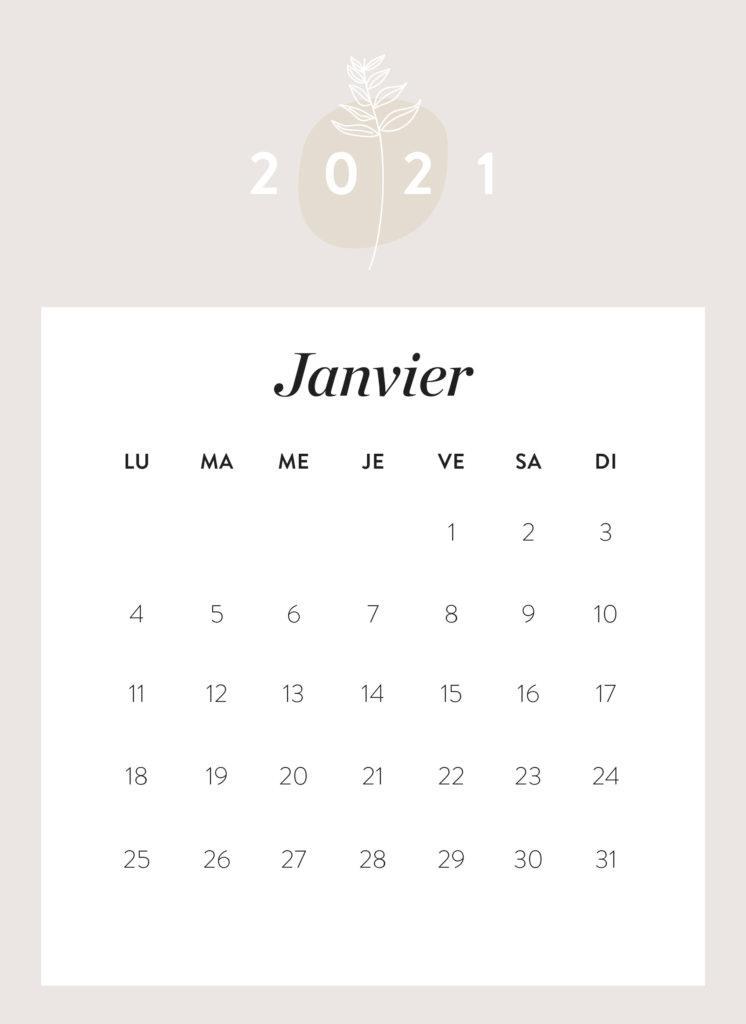 calendrier mois de janvier 2021 à imprimer Westwing