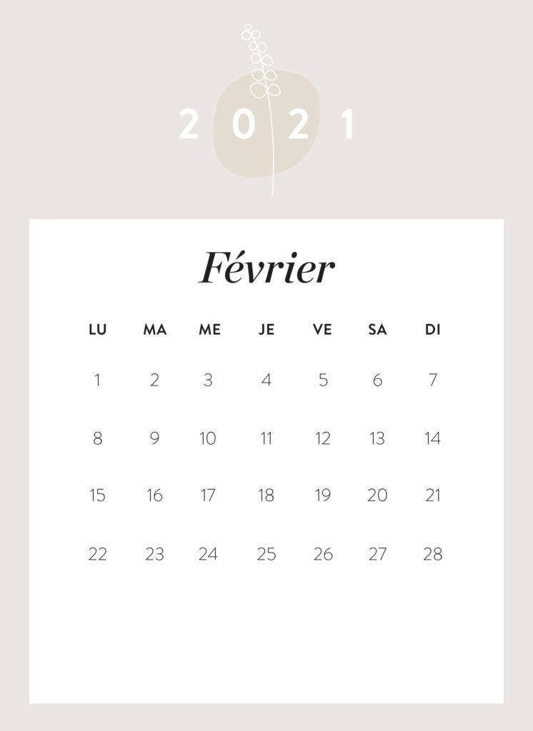 calendrier mois de février 2021 à imprimer