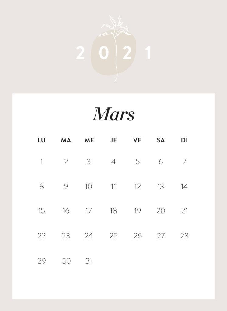 calendrier mois de mars 2021 à imprimer