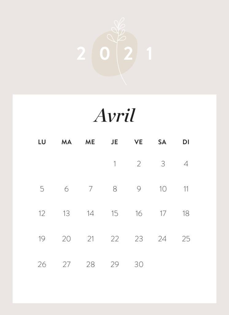 calendrier mois d'avril 2021 à imprimer