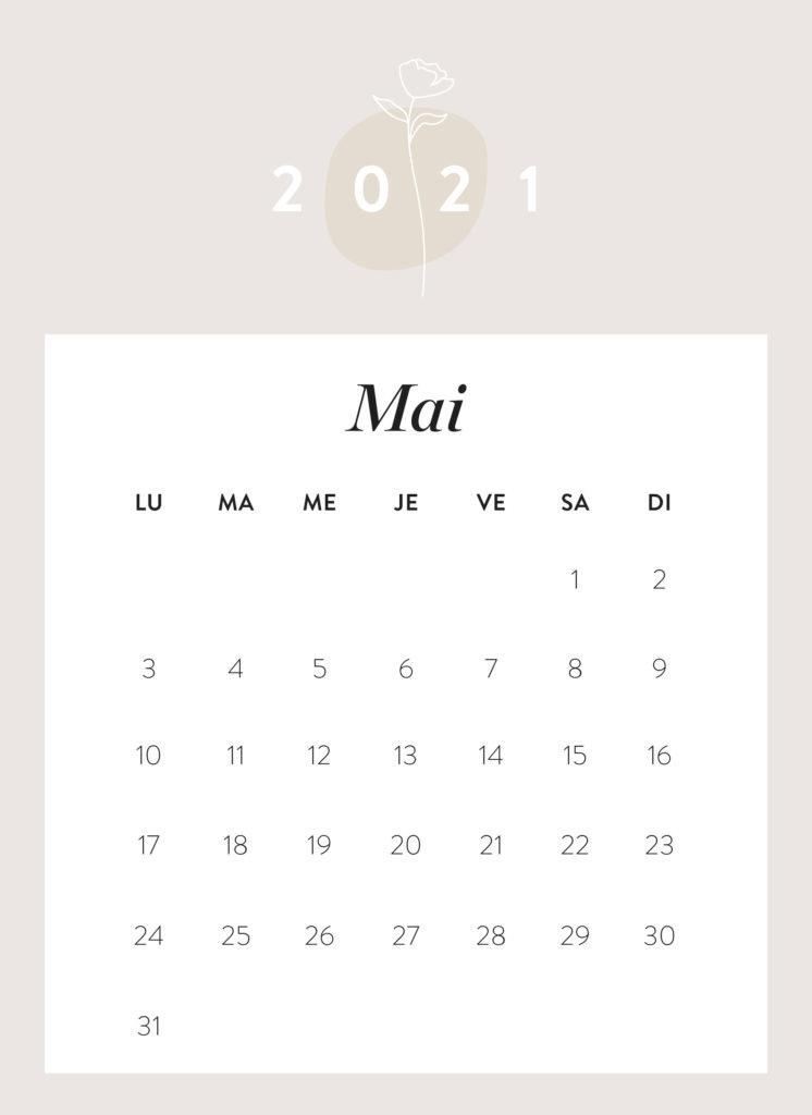calendrier mois de mai 2021 à imprimer Westwing