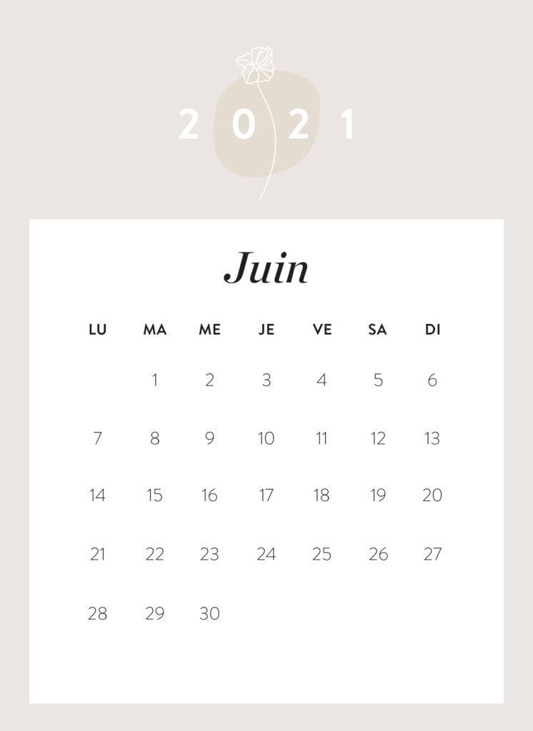 calendrier mois de juin 2021 à imprimer Westwing