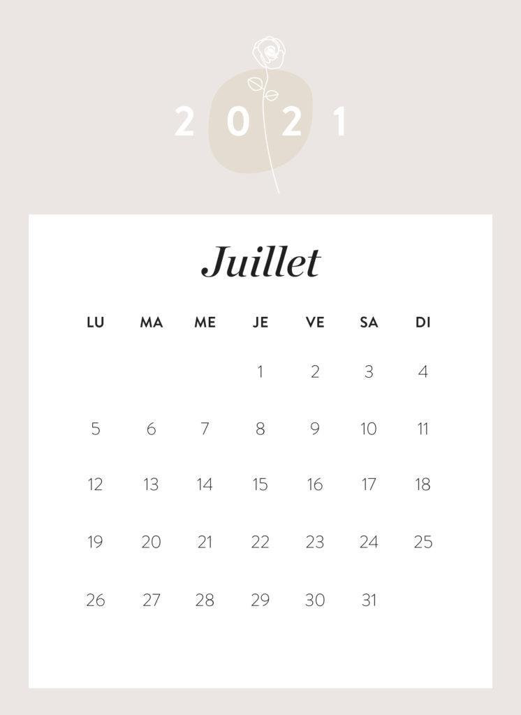 calendrier mois de juillet 2021 à imprimer Westwing