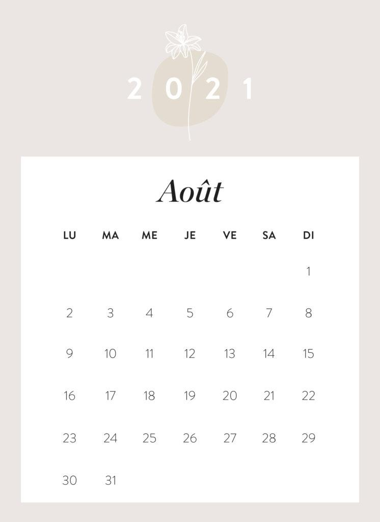 calendrier mois d'août 2021 à imprimer Westwing