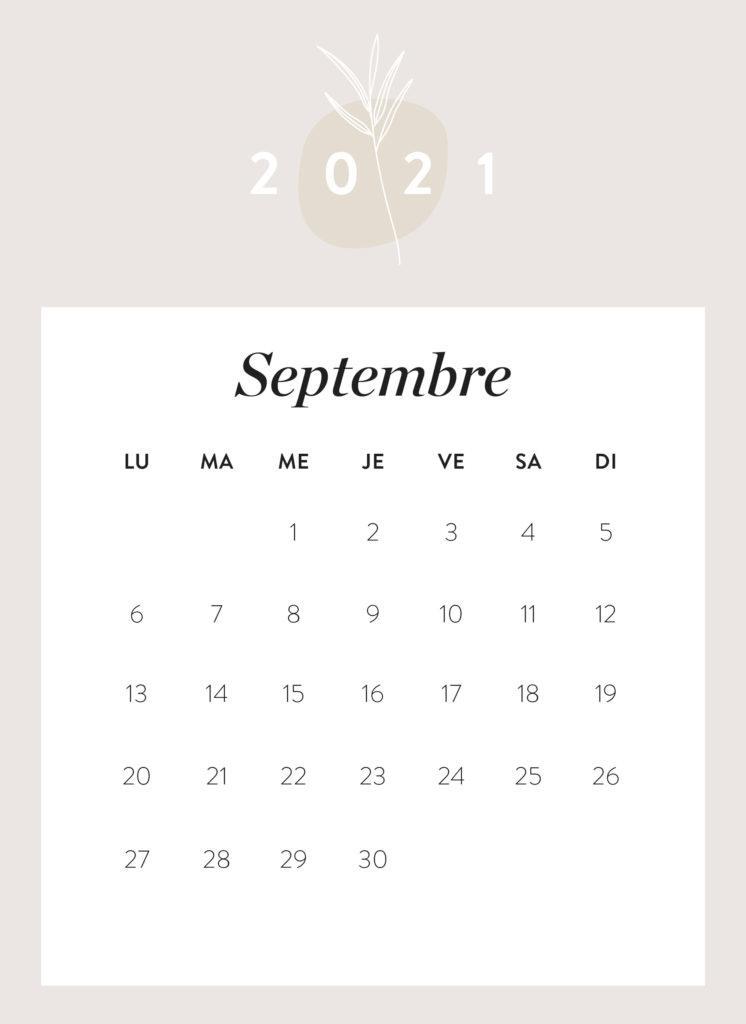 calendrier mois de septembre 2021 à imprimer Westwing
