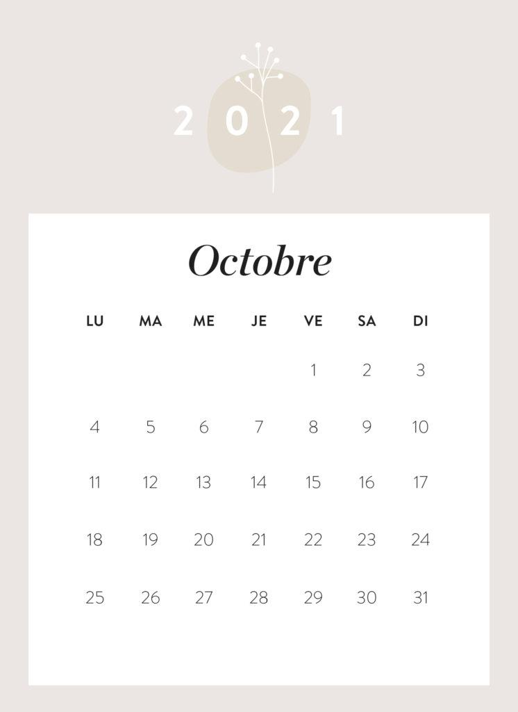 calendrier mois d'octobre 2021 à imprimer Westwing