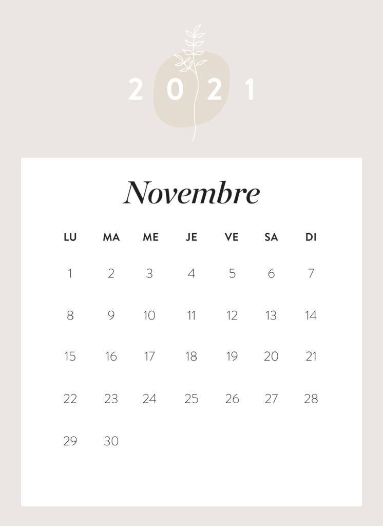 calendrier mois de novembre 2021 à imprimer Westwing