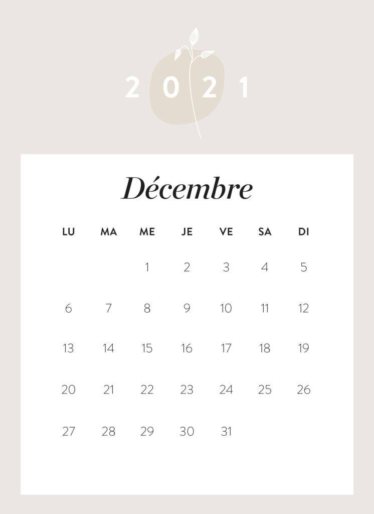 calendrier mois de décembre 2021 à imprimer Westwing