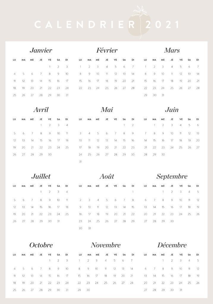 calendrier à imprimer annuel 2021 Westwing