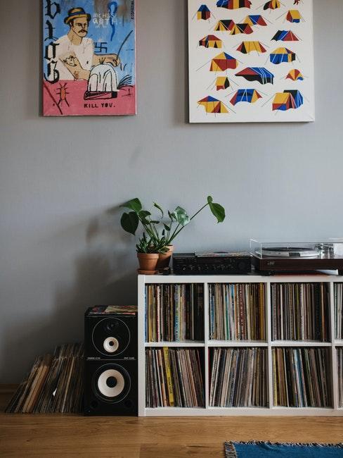 rangement pour petits espaces, meuble bas blanc, deux peintures décoratives