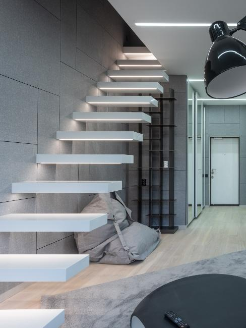 escalier blanc minimaliste industriel