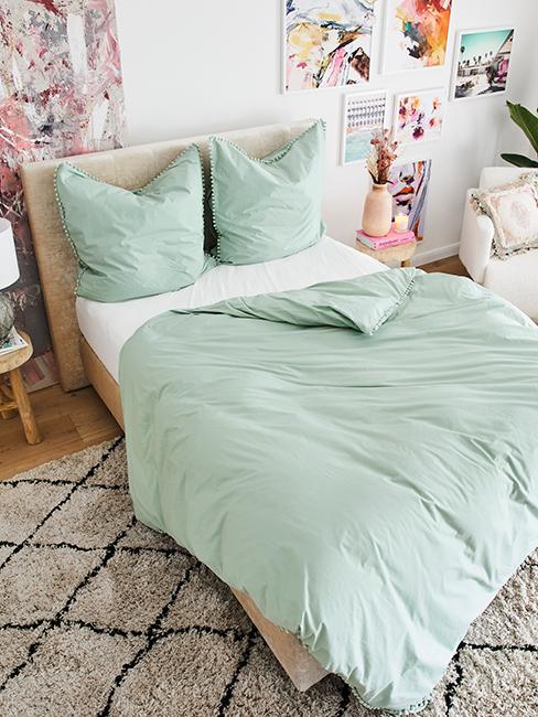 linge de lit vert pastel