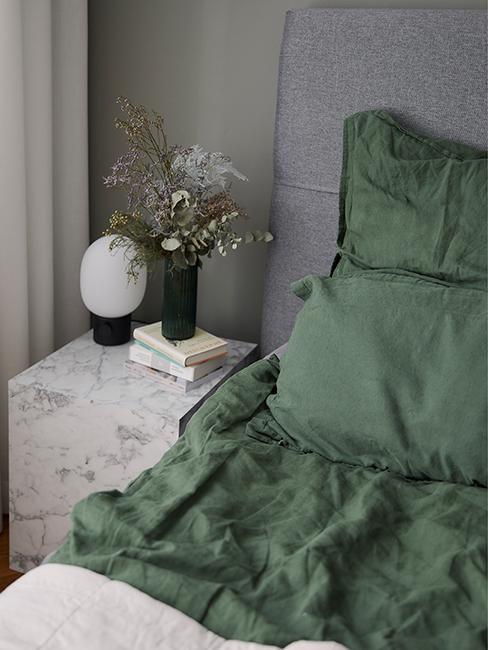 linge de lit vert