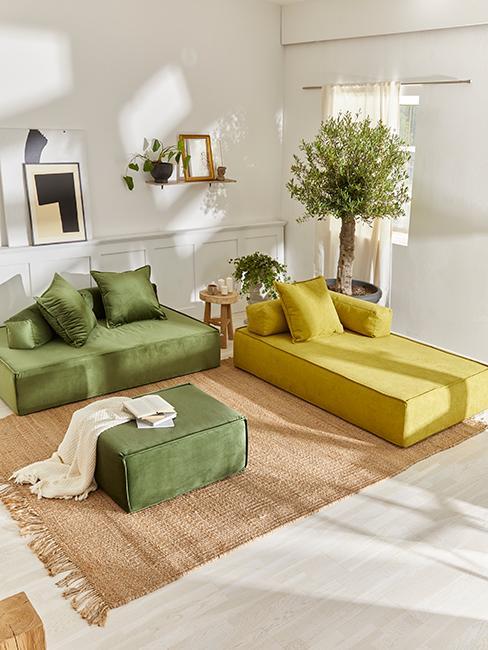 salon vert avec canapé vert olive et vert anis