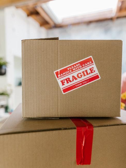 cartons, déménagement, fragile