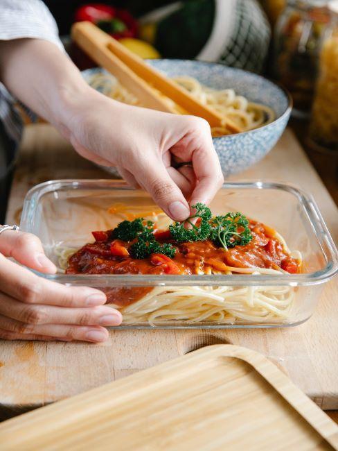 batch cooking spaghetti, boite de rangement, cuisiner, alimentation