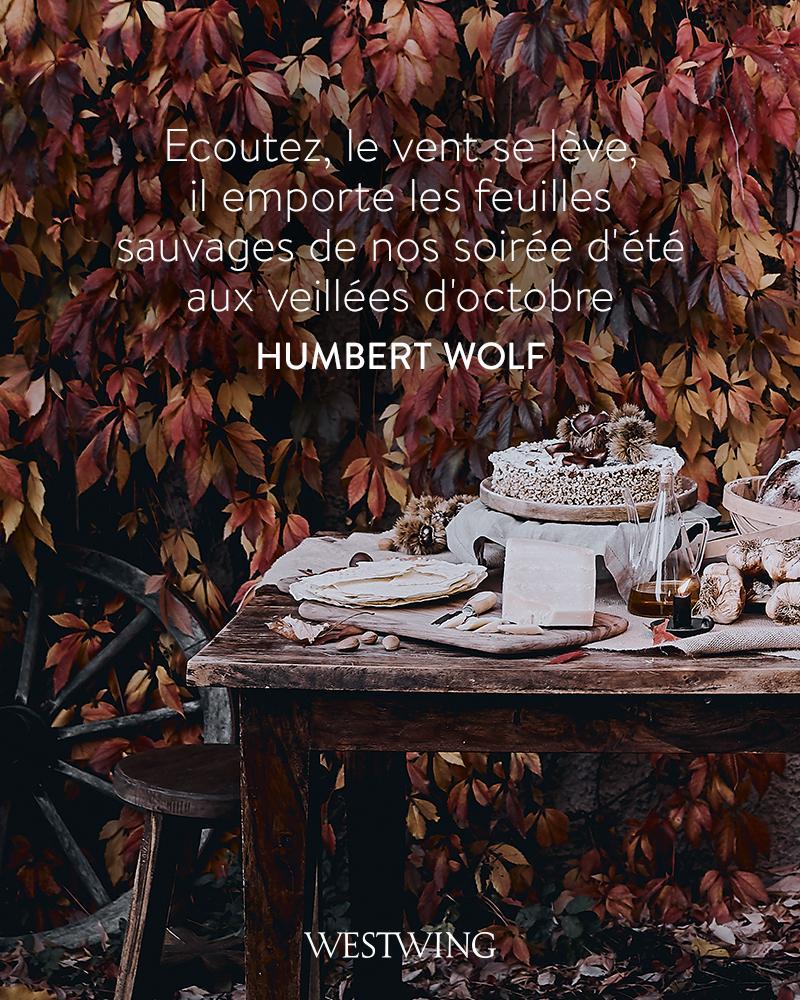 affiche citation automne feuilles et table en fond