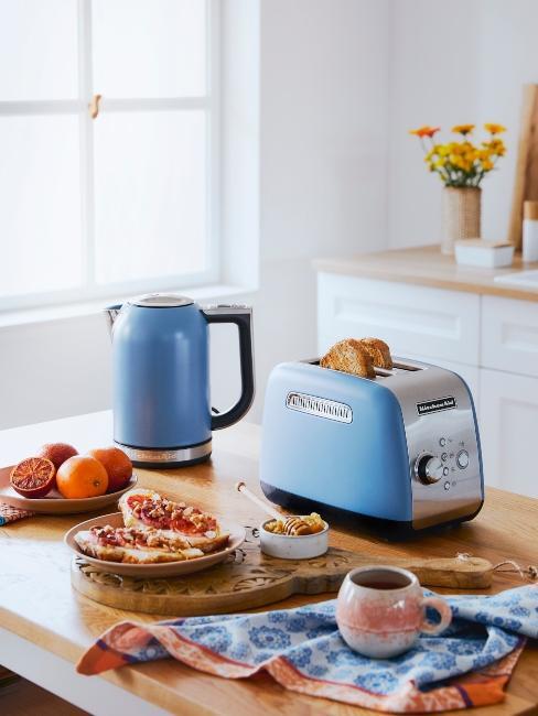 cuisine avec appareils bleus
