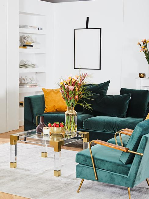 salon moderne avec canapé vert sapin