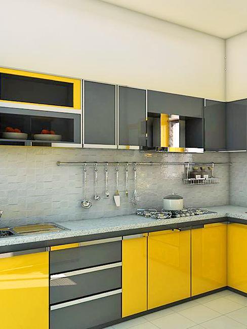 cuisine jaune et grise moderne
