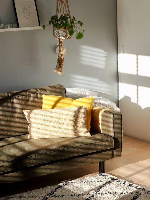 salon canapé vert kaki, coussin jaune