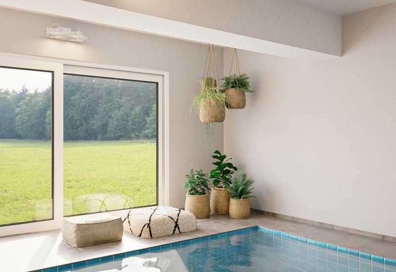 projet 3D aménagement piscine intérieure Westwing, coin végétal