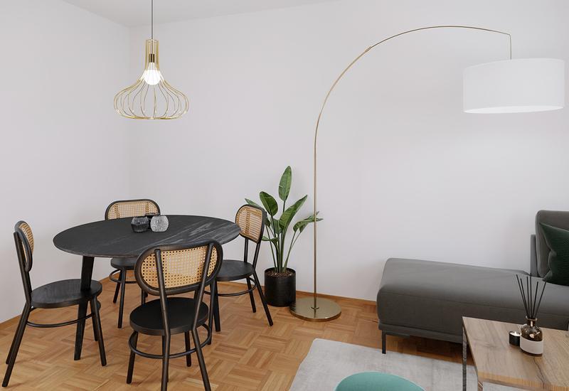 proposition de projet 3D pour aménager un salon avec un coin repas - Westwing 1
